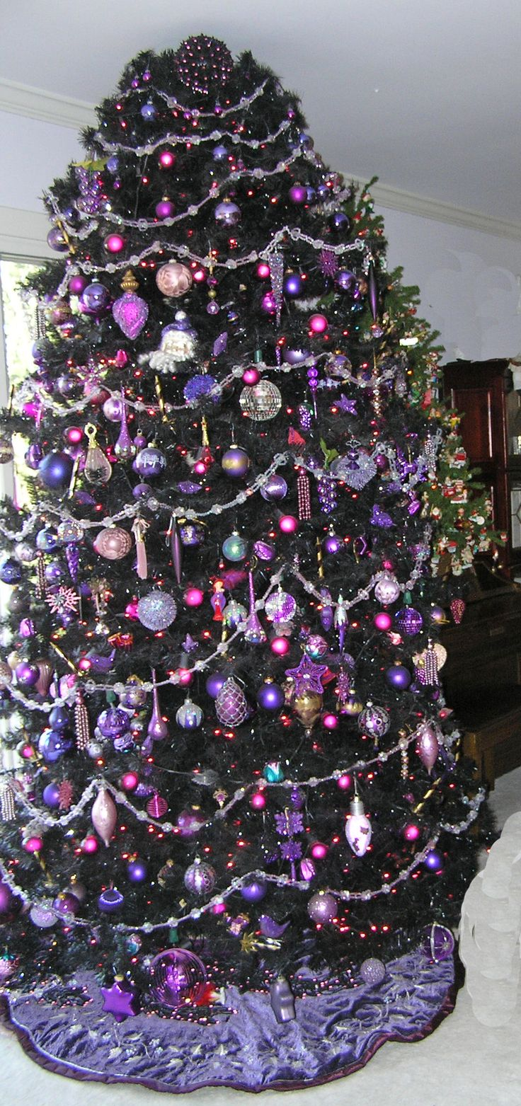 Purple decorated christmas trees - Black Tree Purple Decorations