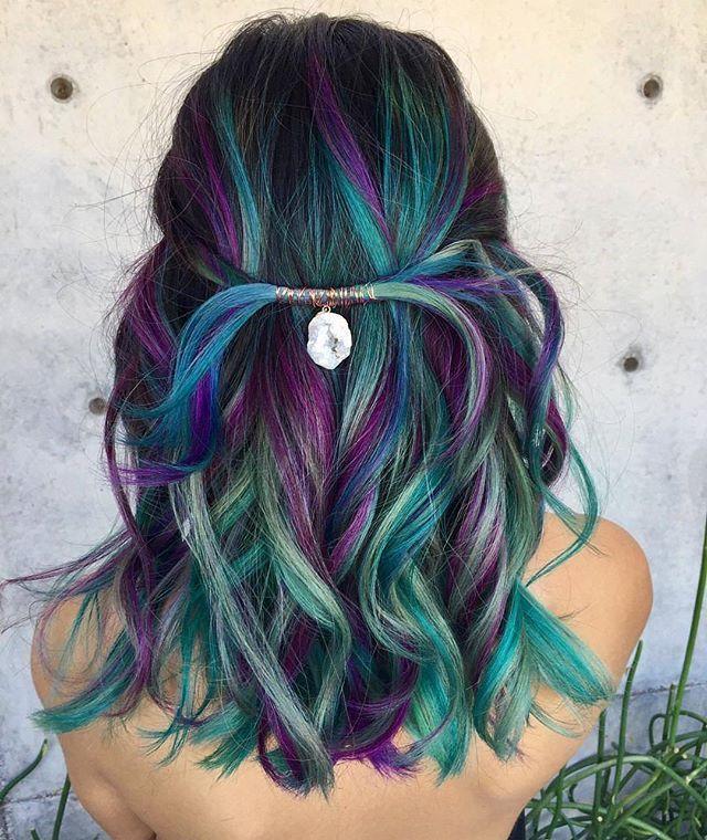 Hair by: @kristi.warner Hair on: @stephvillastyle #hair#color#blue#bluehair#green#purpel#curls#glam#blend#hothair#hotonbeauty#modernsalon#behindthechair#pulpriot#colorhairdontcare#mermaid#blemd#hairstylist#hairstyle#hairinspo#hairideas#pulpriothair#vivid
