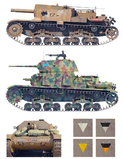 """Semovente M 40 DA 75/18, Ariete Division, May 1942 & M 15/42 tank of the Ariete Division, Rome, Summer 1943"""