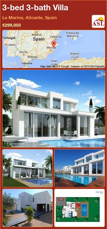 3-bed 3-bath Villa in La Marina, Alicante, Spain ►€299,950 #PropertyForSaleInSpain