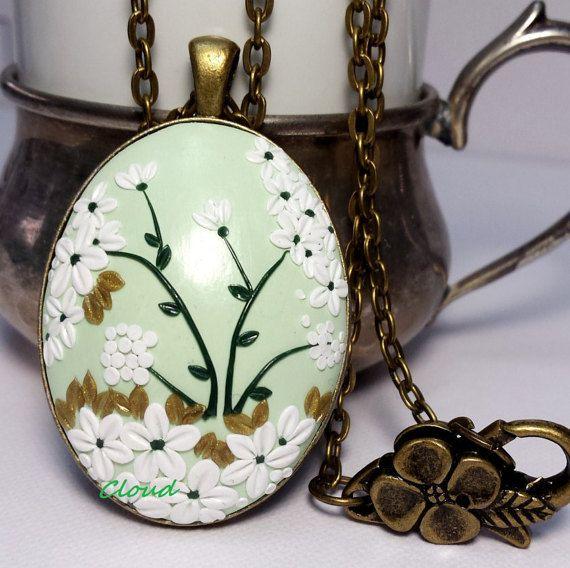 Ciondolo bronzo floreale in pasta polimerica  di ClaudiaNicolazzo