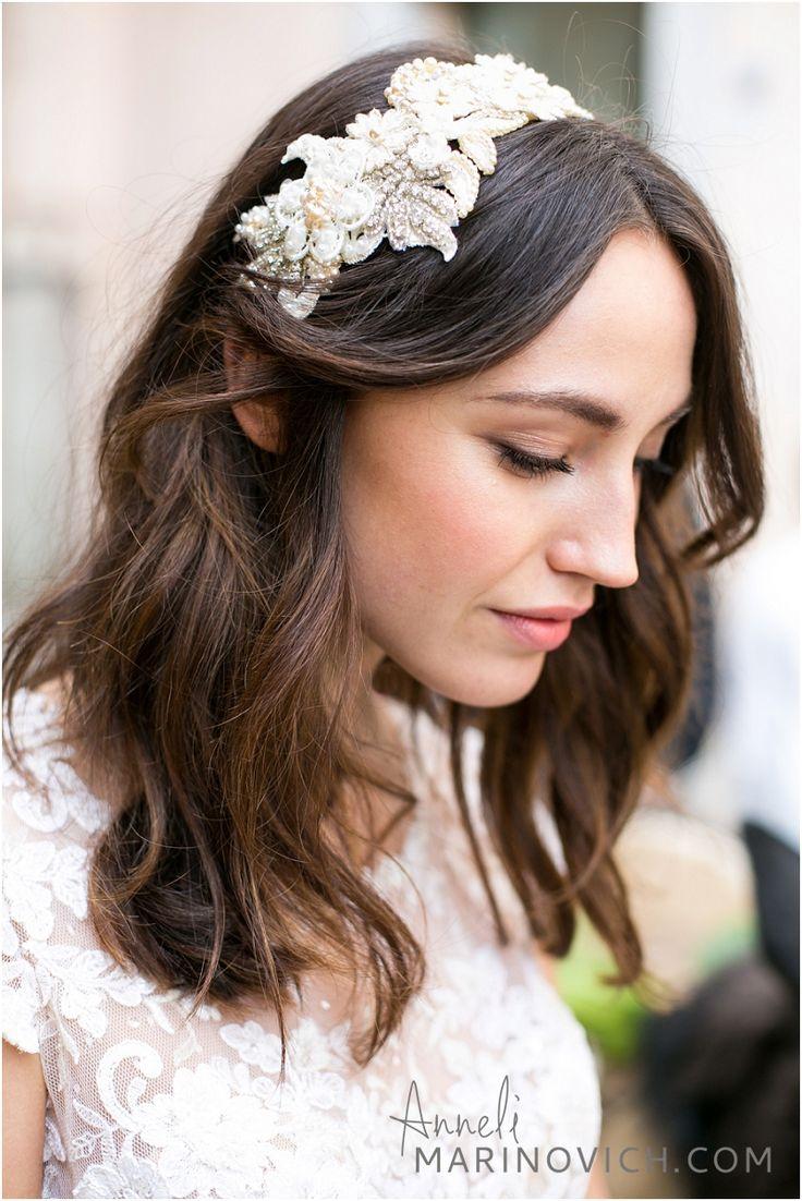 Swoon over jannie baltzer s wild nature bridal headpiece collection -  Italian Bride Wearing Jannie Baltzer Headpiece Jannie Sofine