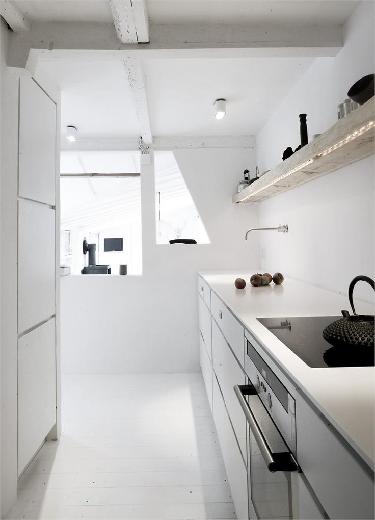 kitchen at Vedbaek House, VedbaekKitchens Design, Kitchens Remodeling, Norm Architects, Interiors Design Kitchens, Kitchens Ideas, Kitchens Lights, Interiordesign, Wood Shelves, White Kitchens