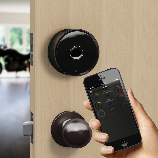 Smartphone Deadbolt Lock: Allows you to open or secure your front door from anywhere in the world. Get it HERE: http://www.thegiftsformen.com/smartphone-deadbolt-lock.php