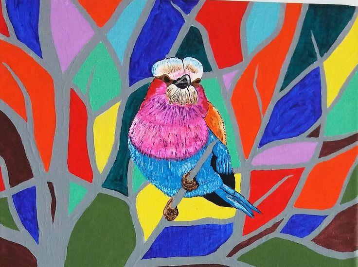 oiseau mosaique 9x12