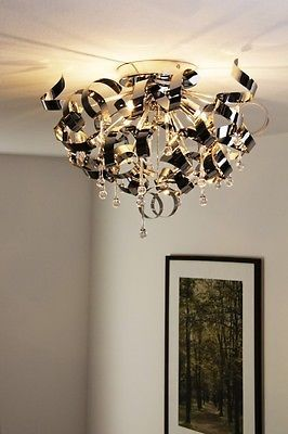 Lampada da soffitto Metallo cromato Moderno Plafoniera Design Lampadario 49844