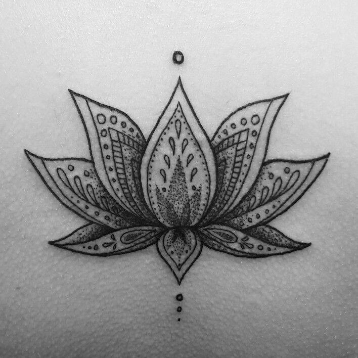 Dotwork Lotus Flower. Tattoo by Fliquet Renouf.
