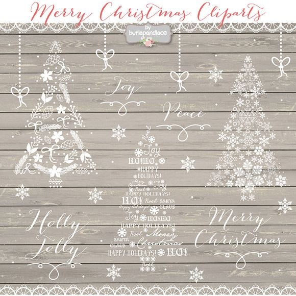 Vector christmas tree cliparts by burlapandlace on Creative Market