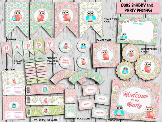Owls Shabby Chic Party PackageShabby Party by TheLovelyDesigns