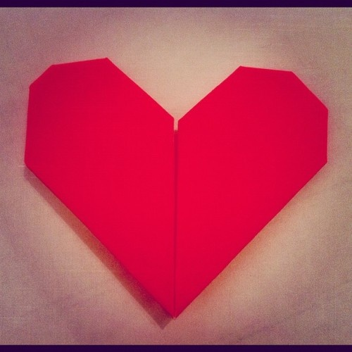 Origami heart, valentines day