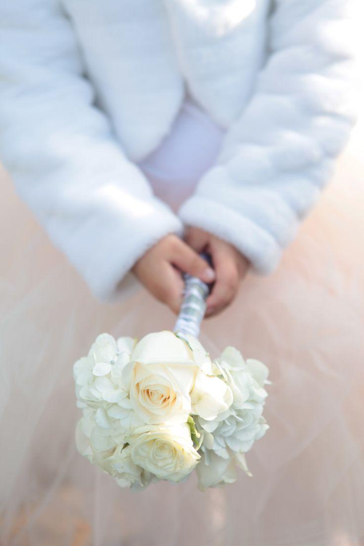 Mini bouquet pajesita, rosas y hortensias