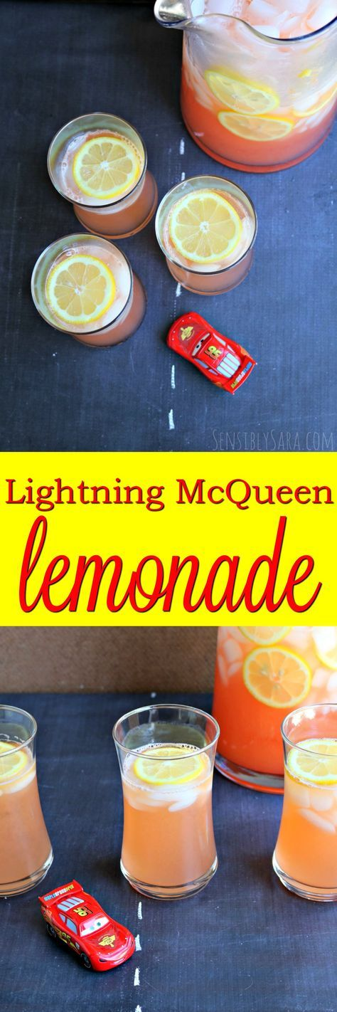 Lightning McQueen Lemonade! The perfect non-alcoholic party beverage for any CARS themed event!   SensiblySara.com