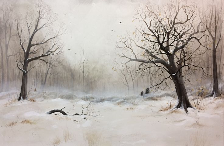 """""""Winter Meeting 2"""", acrylic on canvas by Lisbeth Thygesen  Winter, landscape, snow, woods, clearing, wesen, spirits, light, magic, magical, realism, tree, trees, art, painting, artist, female"""