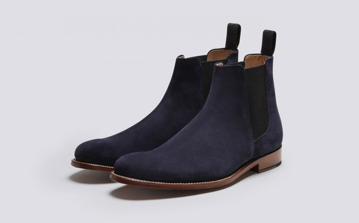 Mens Chelsea Boot in Navy Suede with a Leather Sole | Declan | Grenson Shoes - Three Quarter View