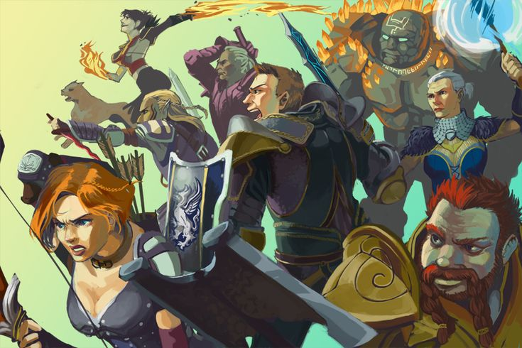 I love, love, love this image of all the Dragon Age Origins party members battling together. ~Artist unknown