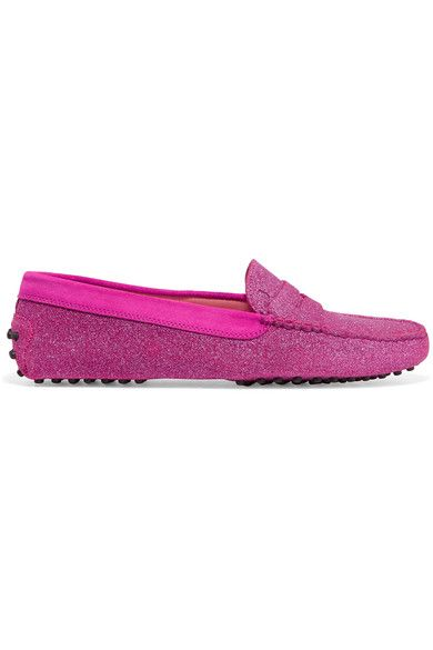 Tod's - Gommino Suede-trimmed Glittered Leather Loafers - Pink - IT38.5