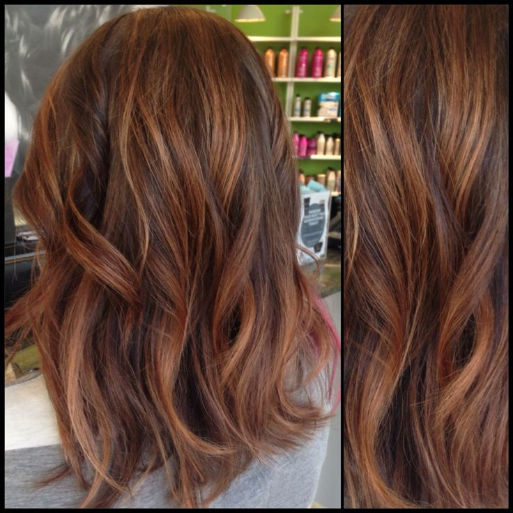 Caramel and brown hair with rose gold accents | Hair ...