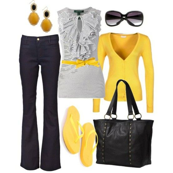 Cute: Shoes, Colors Combos, Shirts, Cute Outfits, Grey Yellow, Flip Flops, Work Outfits, Dark Denim, Ruffles