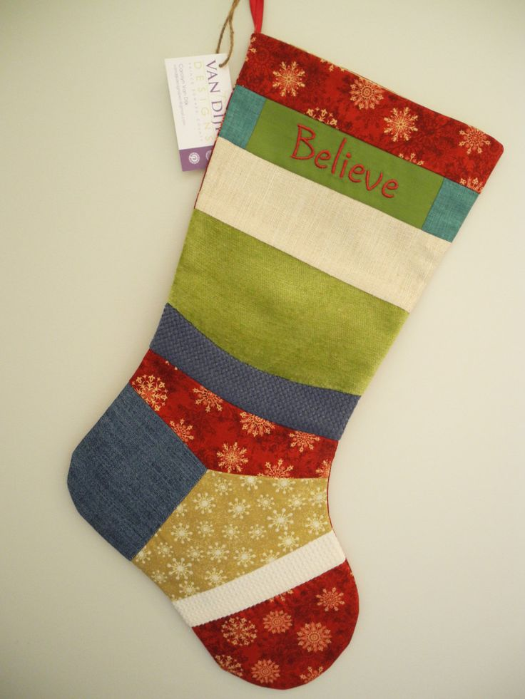 One-of-a-Kind Embroidered Heirloom Patchwork Christmas Stocking Sewn with Up-cycled Designer Fabrics by VanDijkDesigns on Etsy