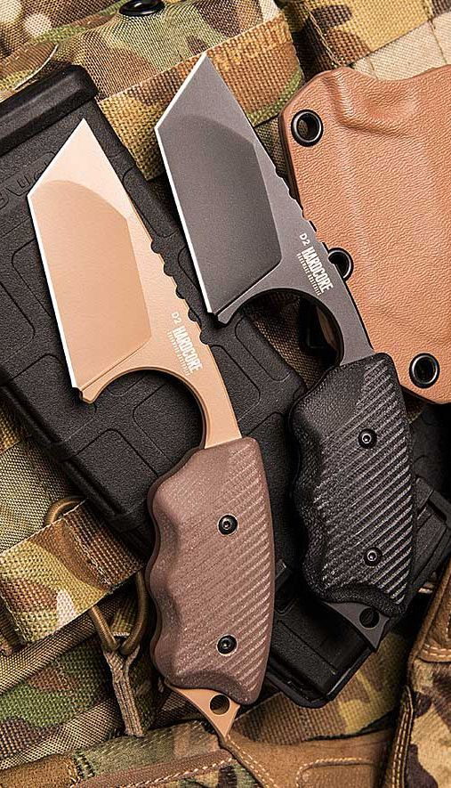 Hardcore Hardware Australia LFK-04 DGC Fixed Blade Tactical Knife Tan Teflon Finish Dark Earth G10 Handle Coyote Kydex Sheath