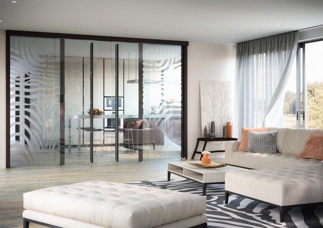 Dvoukřídlé celoskleněné dveře Sapeli - SAPGLASS obývací pokoj