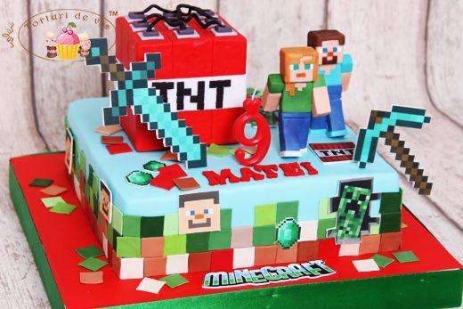 Torturi de vis: Tort Minecraft pentru Matei