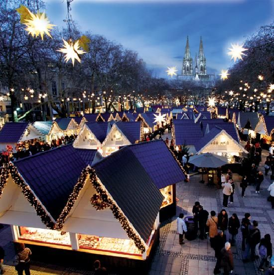 "The beautiful Markt der Engel (the ""Angel"" Market) ... a favorite of the seven major themed Christmas Markets in Cologne, Germany."