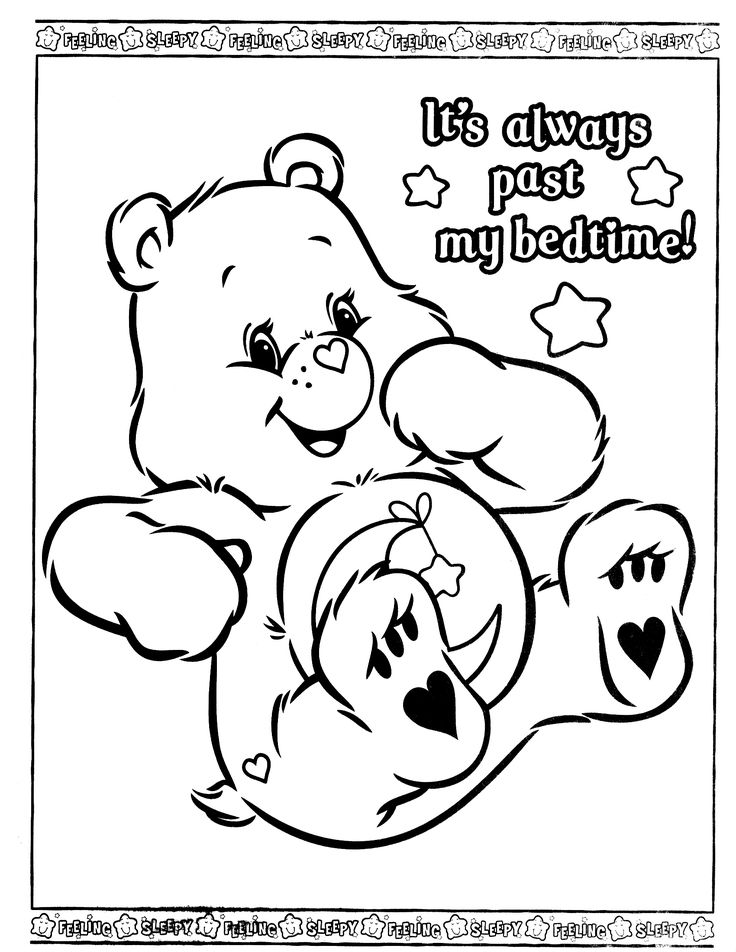 17 best images about care bear bedtime bear 4 on for Bedtime coloring pages