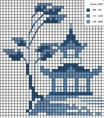 Вышивка крестом / Cross stitch : Восточные мотивы в вышивке - картинки в голубой гамме