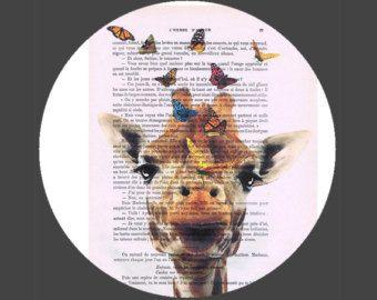Gelukkig Giraffe en Bubblegum pop grappig poster door Natalprint