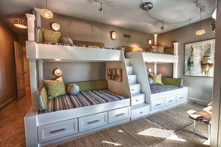 Furniture, Inspiring Teenager Dorm Bedroom With Twin Custom Built Bunk Beds With Traditional Bedding With Under Stair Storage And Under Bed Drawer Design Ideas ~ Great Cool Bunk Beds for Teens for Your Bedroom