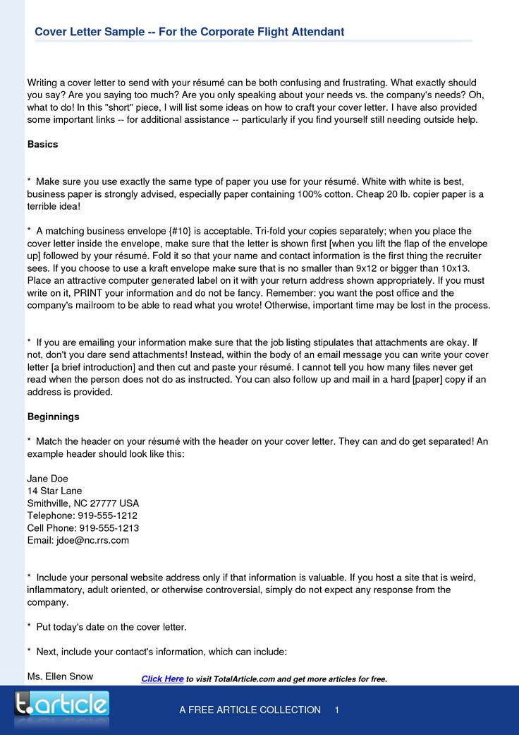 flight attendant cover letter template - Cover Letter Outline