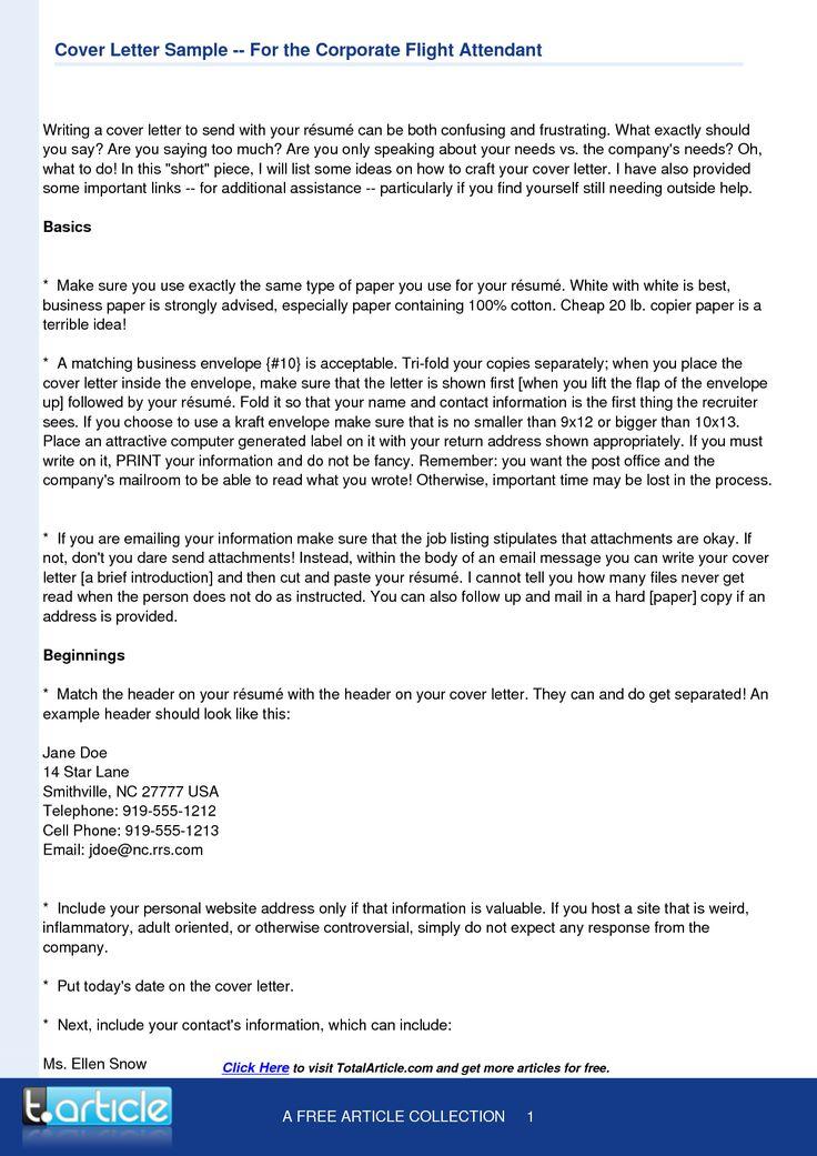 Flight Attendant Cover Letter Template