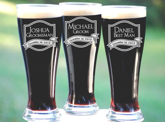 unique groomsmen gifts - personalized beer glasses