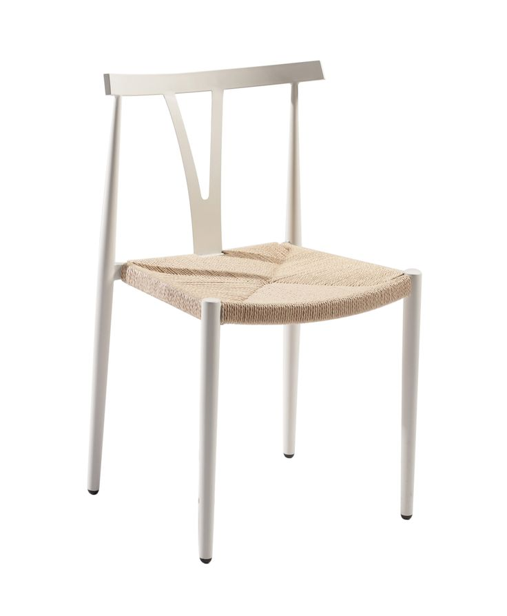 ALFA Chair in white metal with nature seat