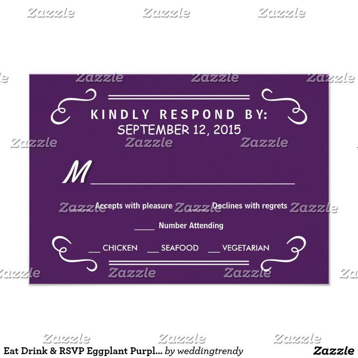 Eat Drink & RSVP Eggplant Purple Wedding Reply