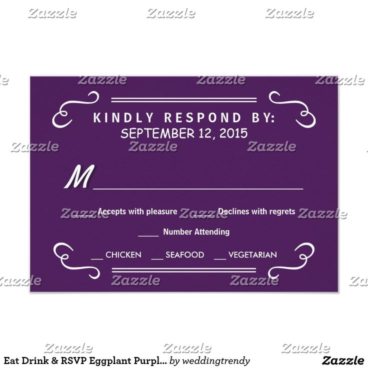 Eat Drink & RSVP Eggplant Purple Wedding Reply