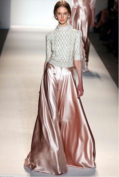 Metallic Pink Long Skirt