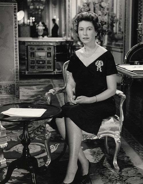 The Queen delivers her 1960 Christmas Broadcast from Buckingham Palace. The Christmas Broadcast dates back to 1932, when King George V spoke on the 'wireless' to the Empire from a small office at Sandringham. The time of the broadcast was 3.00pm, chosen a by The British Monarchy, via Flickr