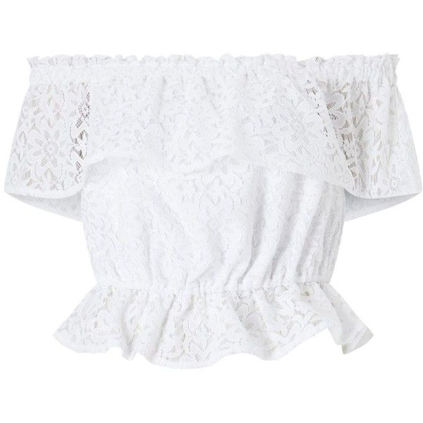 Miss Selfridge White lace bardot top (44 PEN) ❤ liked on Polyvore featuring tops, blouses, white lace blouse, white ruffle blouse, white short sleeve top, short-sleeve blouse and lace blouse