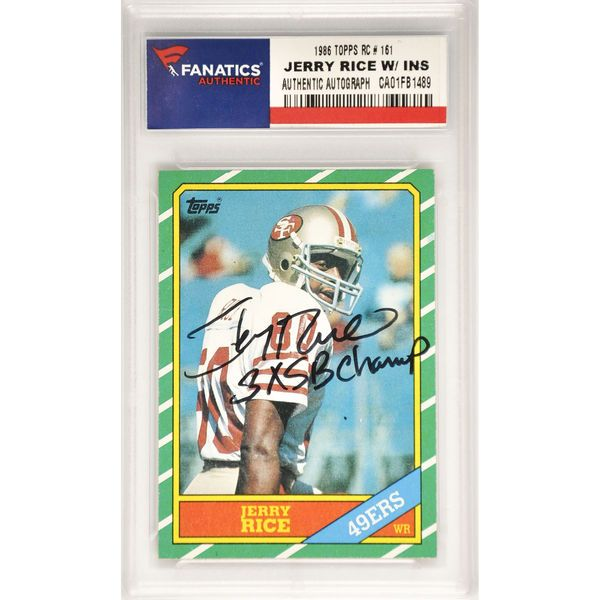 Jerry Rice San Francisco 49ers Fanatics Authentic Autographed 1986 Topps Rookie #161 Card with 3 X SB Champ Inscription - $399.99