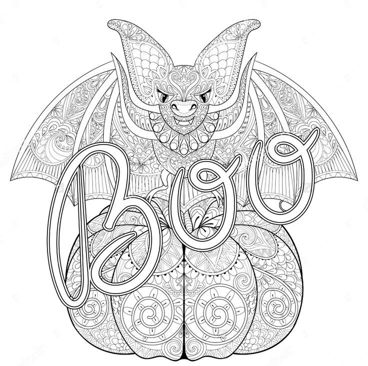 Zentangle bat and pumpkin coloring page
