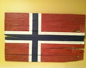 Norge .... Flag made of painted WOOD. We have some old pieces from the Hegg family barn that would be nice.