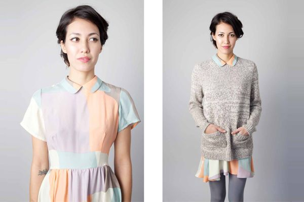 sweater over a collared dress. Dusen Dusen via refinery 29