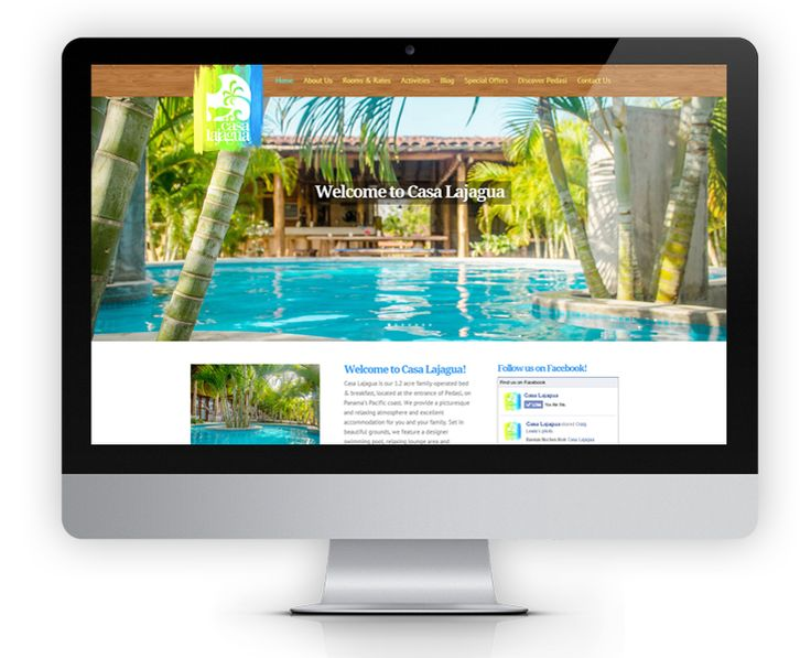 The Casa Lajagua website features large full-width images in a parallex effect to showcase the beautiful property located in picturesque Pedasi.  Each page utilizes photo sliders as page headers to show off the boutique B&B's modern and  colorful decor.  The homepage also features a big Tripadvisor review section to highlight Casa Lajagua's perfect 5 star ratings and their 2014 Certificate of Excellence award.