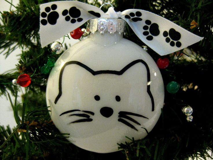 Cat face purrsonalized christmas ornament in red or white for Cat christmas ornaments craft