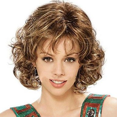 [CyberWeekSale]Fashion Lady Short Brown Blonde Mixed Curly Cosplay Full Wigs – SEK Kr. 147