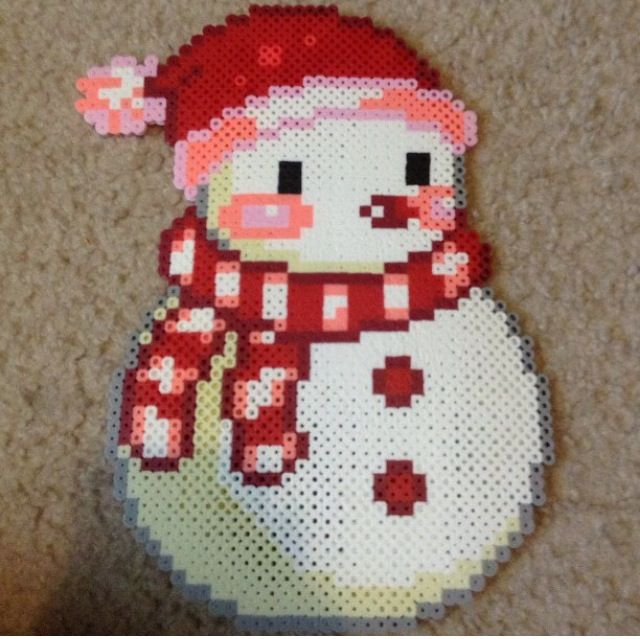 Cute Snowman! Perler Hama Melty Fuse Beads