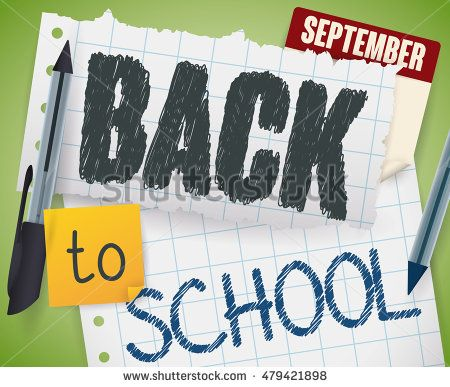 Notebook papers with greeting message for Back to School with doodles made with…