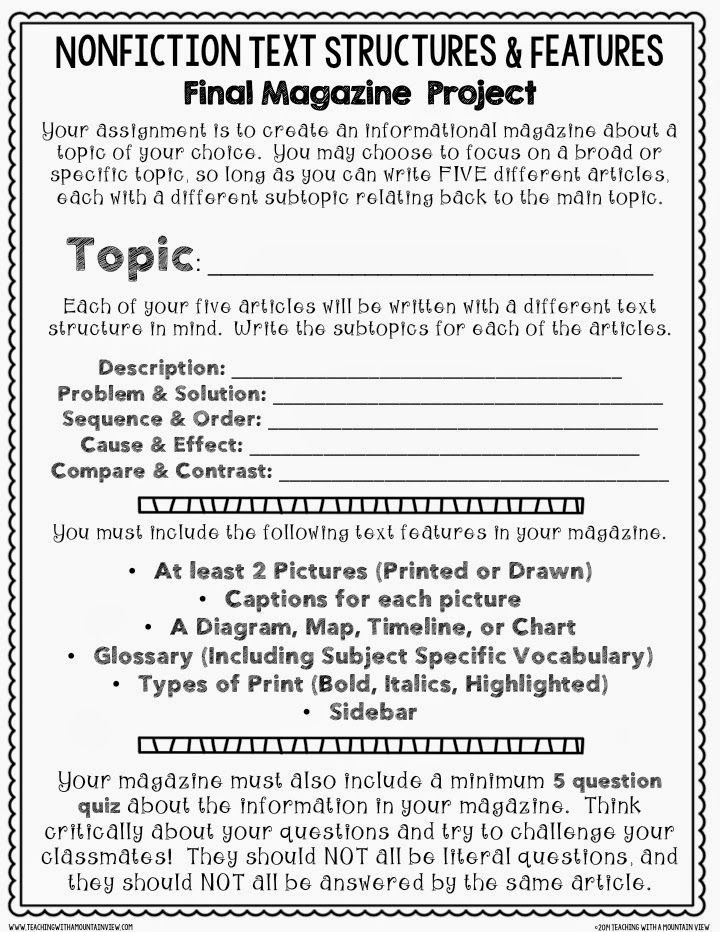 Teaching With a Mountain View: Nonfiction Text Structures & Features Cumulative Assignment. FREE assignment sheet!